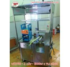 Trọn bộ máy ép mía siêu sạch tủ kính và máy ép miệng ly nhựa giá rẻ tại Gò Vấp